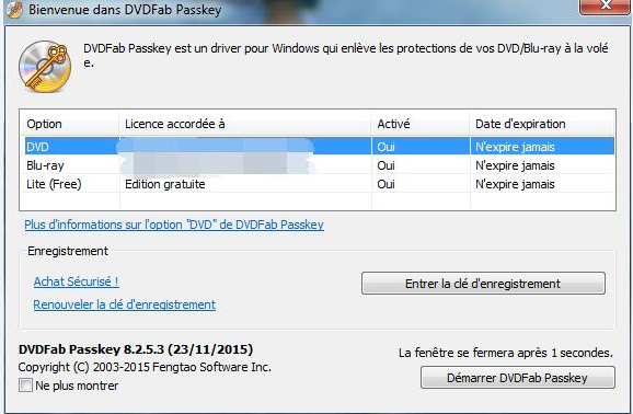 dvdfab passkey for blu-ray capture d'écran 1